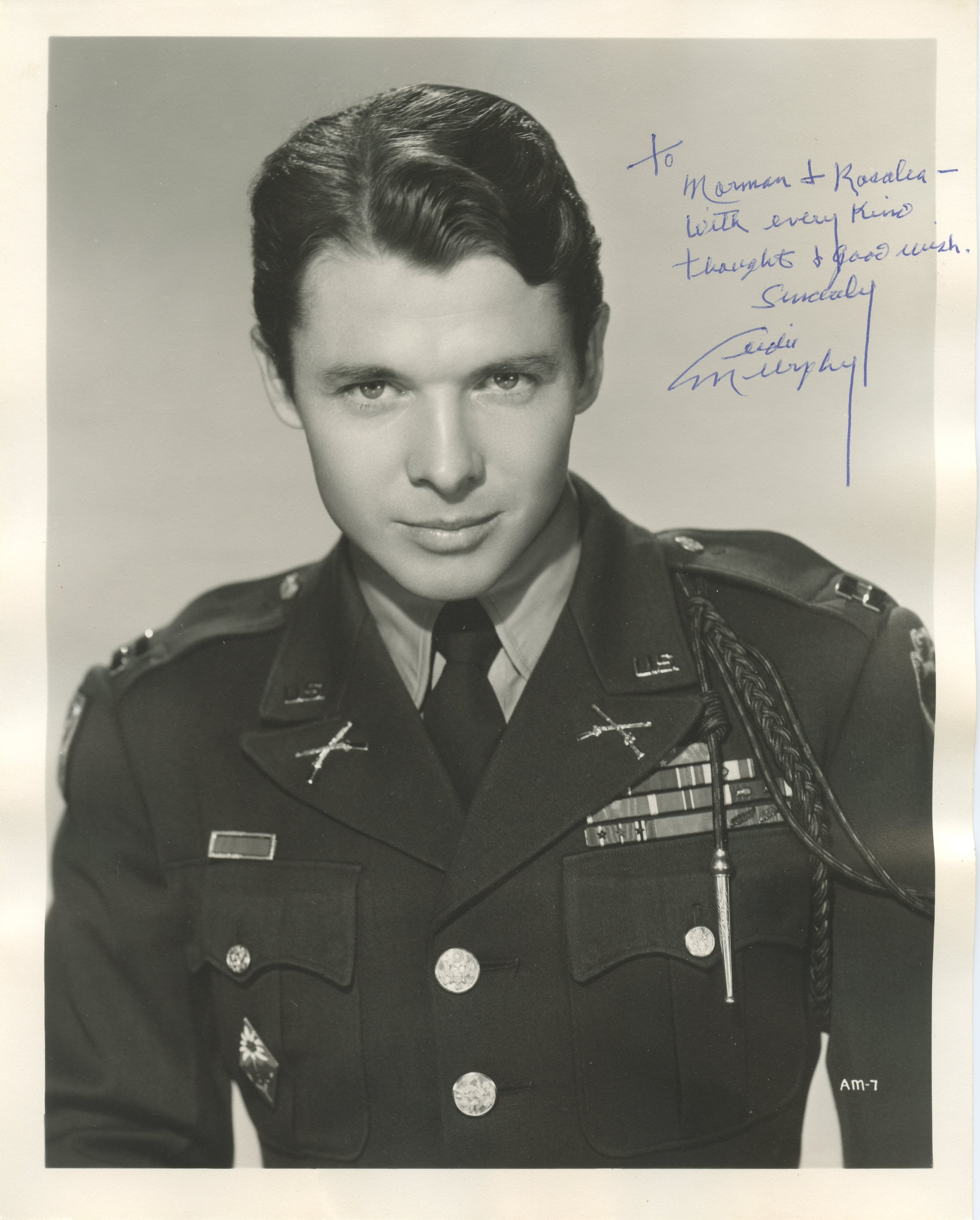Audie Murphy Autograph Decidated To Norman And Rosalea
